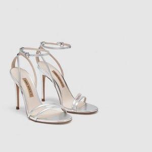 NWT Zara Silver Strap Heels Size 38 US 7 1/2